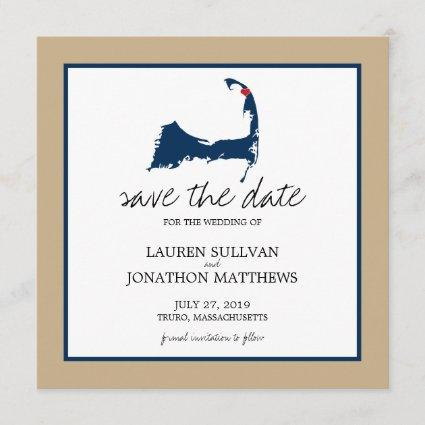 Navy Blue Truro Cape Cod Wedding Save the Date