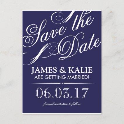 Navy Blue Vintage Script Save the Date Announcements Cards