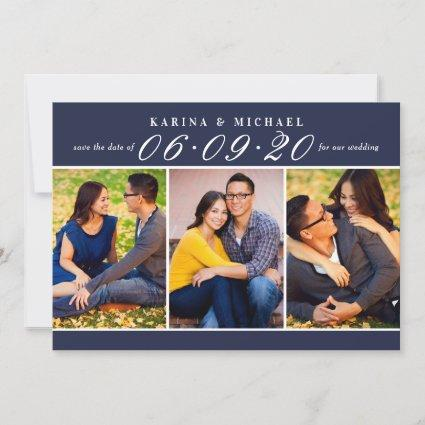 Navy Blue Wedding Date in Script Photo Collage Save The Date