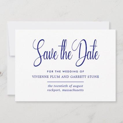 Navy Blue & White Calligraphy Save the Date