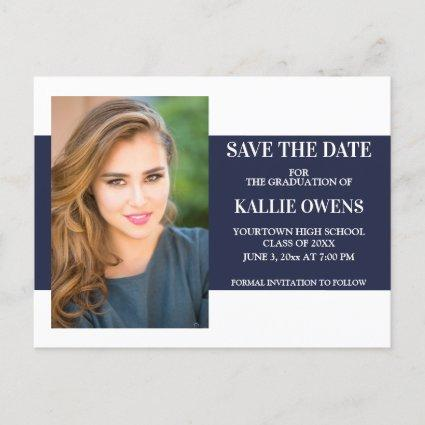 Navy Blue White Graduation Save the Date Announcement