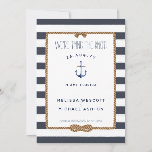 Navy Blue White Nautical Tying the Knot Infinity Save The Date