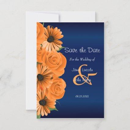 Navy Blue with Orange Roses  - Save The Date