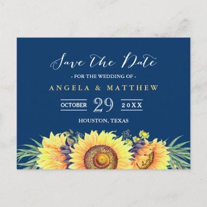 Navy Blue Yellow Sunflowers Wedding Save the Date Announcement