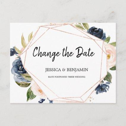 Navy Blush Blossom Floral Change the Date