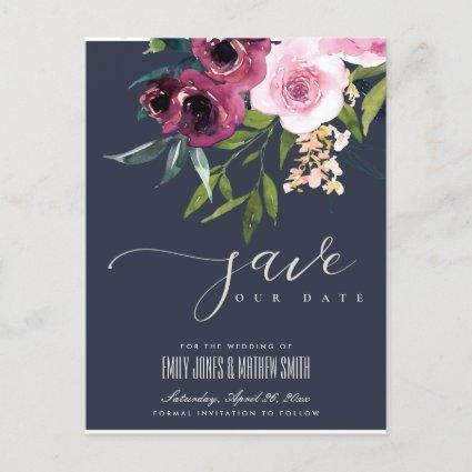 NAVY BLUSH BURGUNDY FLORAL BUNCH SAVE THE DATE ANNOUNCEMENT