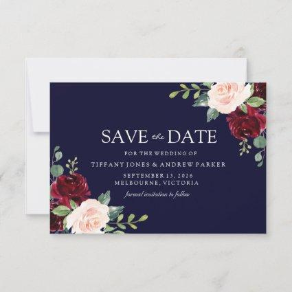 Navy Blush & Burgundy Floral Watercolor Save The Date