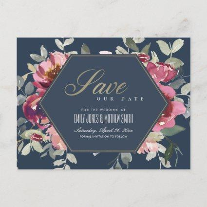 NAVY BLUSH BURGUNDY ROSE FLORAL SAVE THE DATE ANNOUNCEMENT