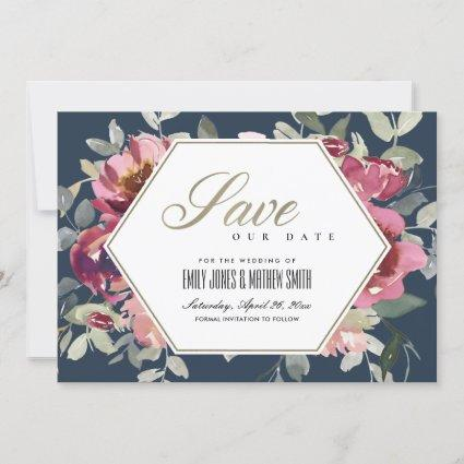 NAVY BLUSH BURGUNDY ROSE FLORAL SAVE THE DATE CARD