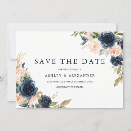 Navy Blush Elegant Modern Floral Wedding Save The Date