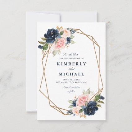 navy & blush floral geometric save the date card