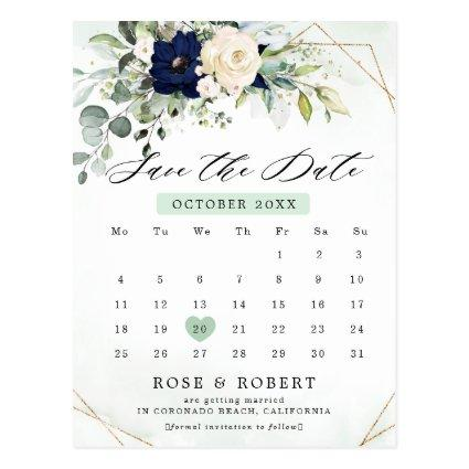 Navy Blush Floral Greenery Calendar