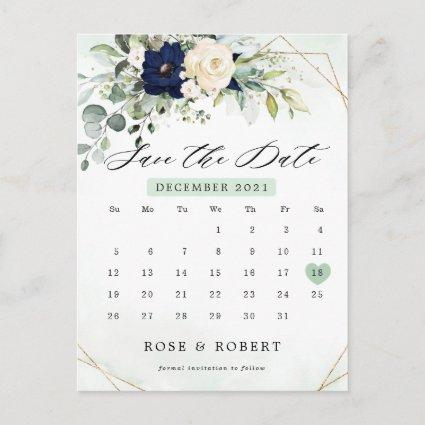 Navy Blush Floral Greenery Calendar Save the Date