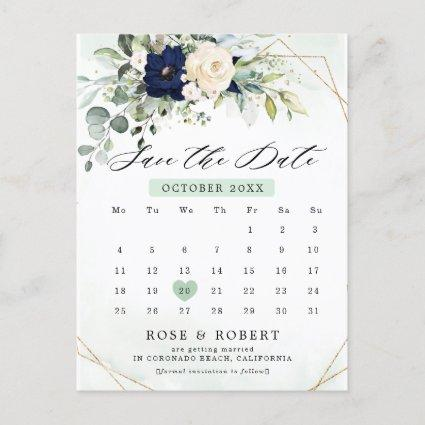 Navy Blush Floral Greenery Geometric Save the date Announcement