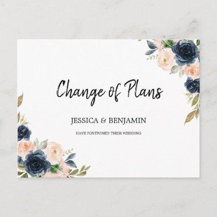Navy Blush Floral Greenery Leaves Change of Plans