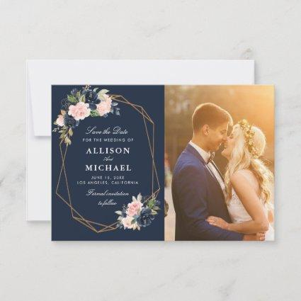 navy & blush geometric save the date photo card