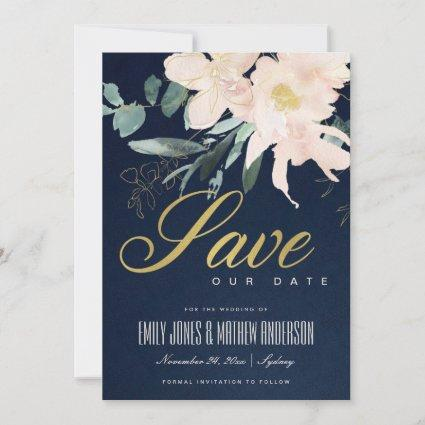 NAVY BLUSH GOLD FLORAL BUNCH WATERCOLOR WASH SAVE THE DATE