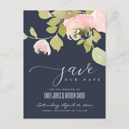 NAVY BLUSH ROSE WATERCOLOR FLORAL SAVE THE DATE ANNOUNCEMENT