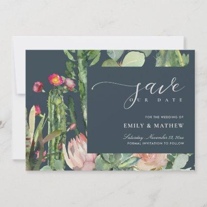 NAVY BOHO PINK DESERT CACTUS FLORAL WATERCOLOR SAVE THE DATE