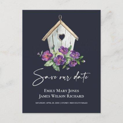 NAVY BOHO RUSTIC FLORAL BIRDHOUSE SAVE THE DATE ANNOUNCEMENT
