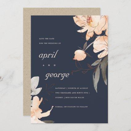 NAVY BROWN ORANGE FLORAL SAVE THE DATE CARD
