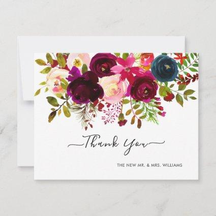 Navy+Burgundy Watercolor Bouquet Thank You Save The Date