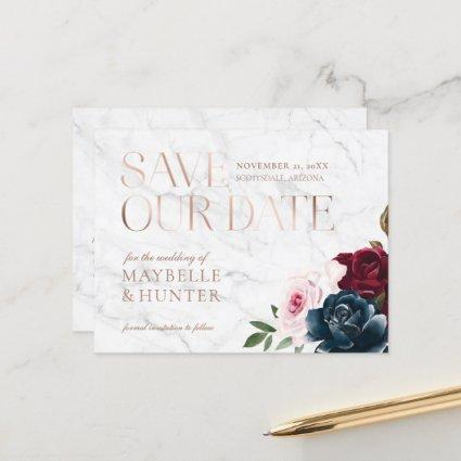 Navy Burgundy Watercolor Rose Gold Save Our Date Announcement