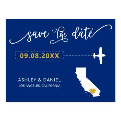 Navy California Wedding Save the Date Map