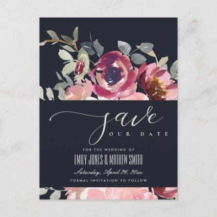 NAVY CHIC BLUSH BURGUNDY ROSE FLORAL SAVE THE DATE ANNOUNCEMENT