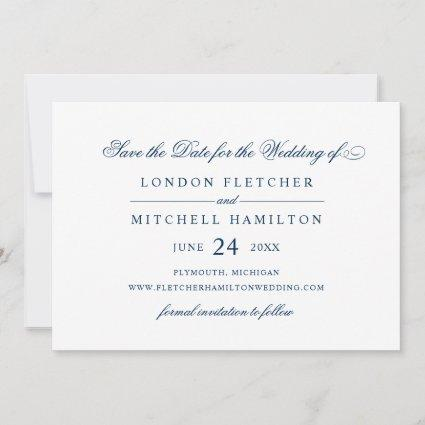 Navy Classic Elegance Wedding White Save The Date