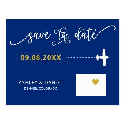Navy Colorado Wedding Save the Date Map