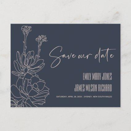 NAVY DESERT CACTI SUCCULENT SKETCH SAVE THE DATE ANNOUNCEMENT