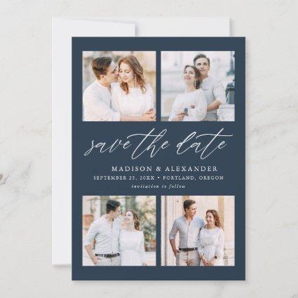 Navy | Elegant Script Four Photo Collage Save The Date