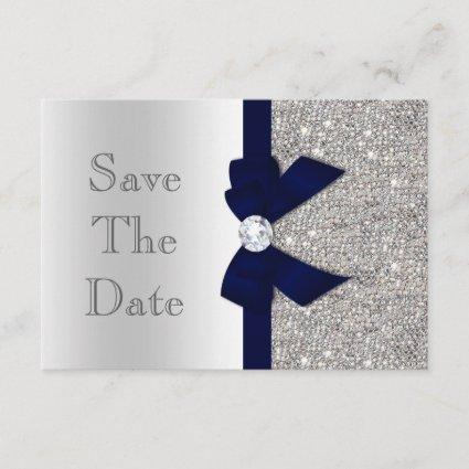 Navy Faux Bow & Diamonds Silver Save The Date
