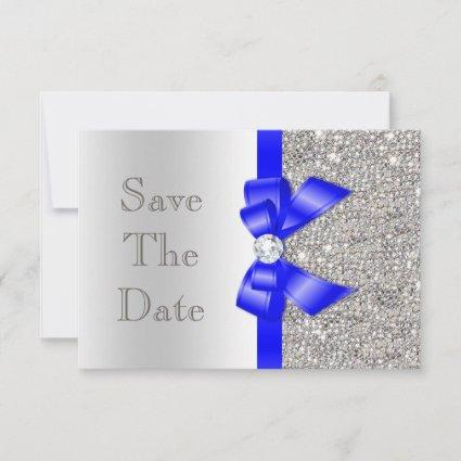 Navy Faux Bow Silver Sequins Save The Date