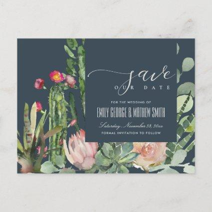 NAVY FLORAL DESERT CACTI FOLIAGE SAVE THE DATE ANNOUNCEMENT