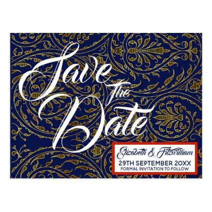 Navy & Gold Save the Date Cards