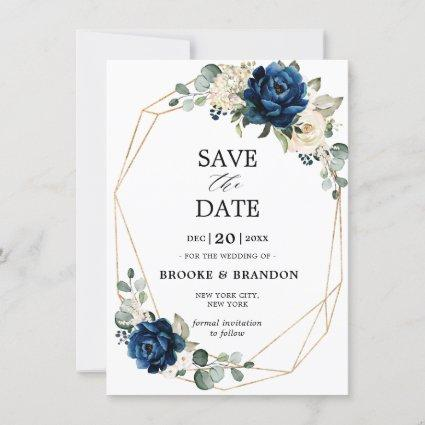 Navy Gold White Champagne Ivory Rose Save the Date