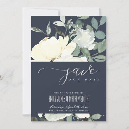 NAVY IVORY WHITE AQUA FLORAL WATERCOLOR BUNCH SAVE THE DATE