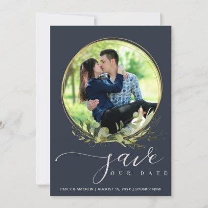 NAVY LEAF FOLIAGE WATERCOLOR PHOTO WREATH OVERLAY SAVE THE DATE