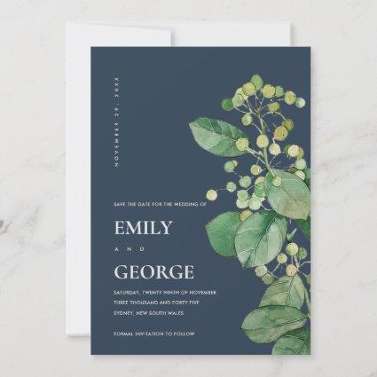 NAVY LEAFY FOLIAGE GREENERY SAVE THE DATE CARD