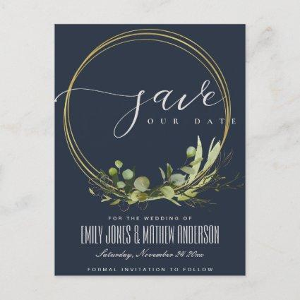 NAVY LEAFY GREEN FOLIAGE WATERCOLOR SAVE THE DATE ANNOUNCEMENT
