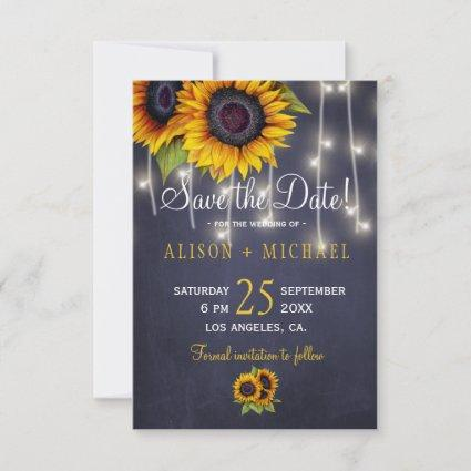 Navy light rustic sunflowers save the date wedding