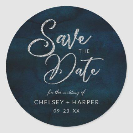 Navy Luster Silver Blue Watercolor Save the Date Classic Round Sticker