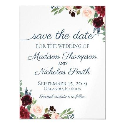 Navy Marsala Floral Save the Date Magnets