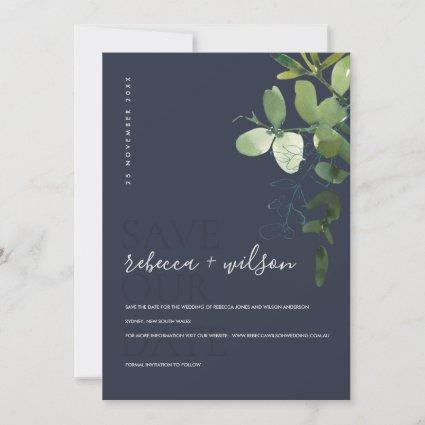 NAVY MODERN GREEN EUCALYPTUS FOLIAGE WATERCOLOR SAVE THE DATE