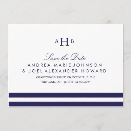 Navy Monogram Wedding Save the Date