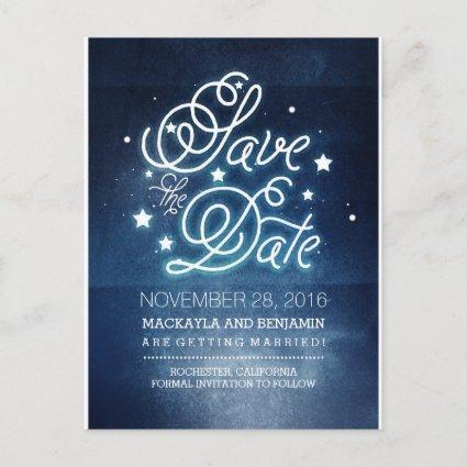 Navy Night Stars Rustic Save the Date Announcement