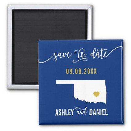 Navy Oklahoma Wedding Save the Date Map Magnet