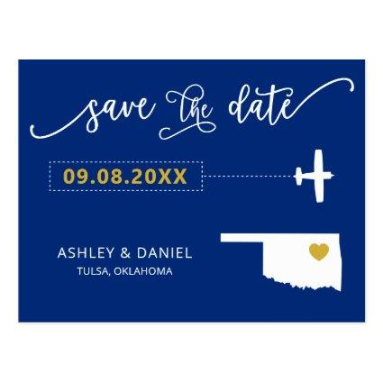 Navy Oklahoma Wedding Save the Date Map